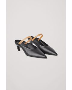 Pointed Leather Mules Black