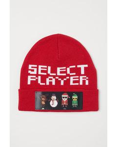 Mütze mit Linsenrasterdruck Rot/Weihnachtsmann