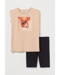 2-teiliges Jerseyset mit Druck Hellbeige/Ariana Grande