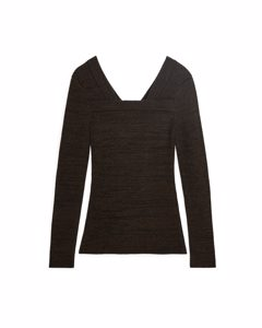 Fitted Square-neck Jumper Dark Brown