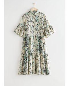 Tiered A-line Midi Shirt Dress Floral Print