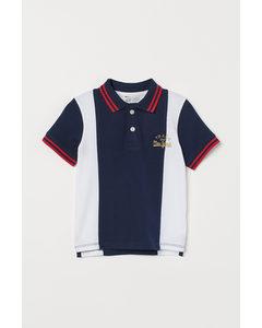 Poloshirt aus Baumwollpikee Dunkelblau/Blockfarben