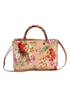 Gucci Flora Bamboo Shopper Leather Satchel Brown