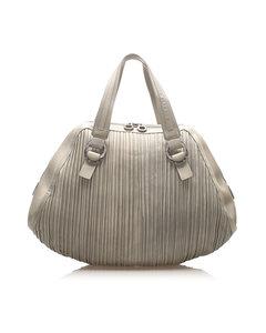 Bvlgari Lambskin Leather Handbag Gray