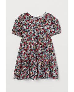 Kleid mit Puffärmeln Dunkelblau/Kleingeblümt