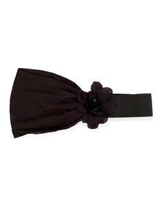 Lanvin Black Silk Elastic Belt With Flowers Size M