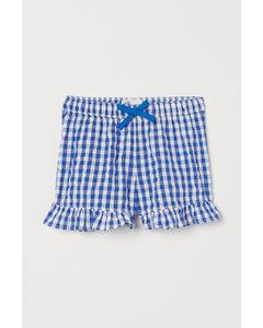 Shorts mit Volants Blau/Gingham-Karo