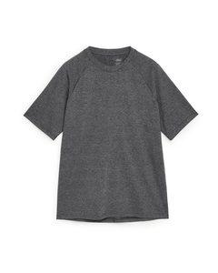 Kurzärmeliges Sport-T-Shirt Dunkelgrau meliert