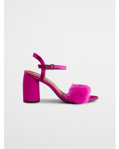 Imitatiebont sandalen roze