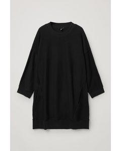 Organic Cotton Oversized Sweatshirt Dress Black