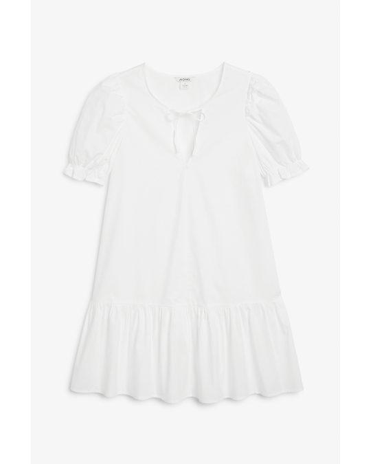 Monki Flounce Hem Mini Dress White