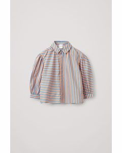 Contrast Striped Shirt Bright Blue / White / Orange
