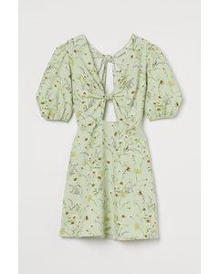 Kleid aus Leinenmix Hellgrün/Geblümt