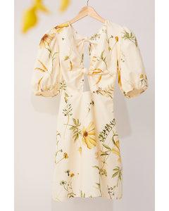 Kleid aus Leinenmix Hellgelb/Geblümt
