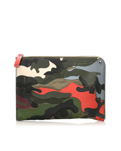 Valentino Camouflage Leather Clutch Bag Brown