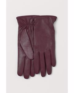 Handskar I Läder Vinröd