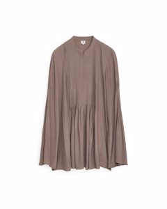 Fluid Bell-sleeve Blouse Taupe