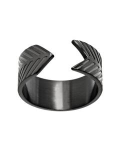 Herringbone Ring Black Steel