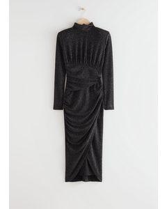 Draped Padded Shoulder Midi Turtleneck Dress Black Glitter