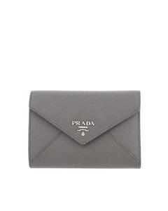 Prada Saffiano Small Wallet Gray