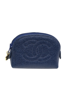 Chanel Cc Caviar Leather Pouch Blue
