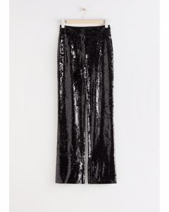 Slim Zip-cuff Sequin Trousers Black