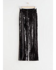 Slim Zip-cuff Sequin Trousers Black
