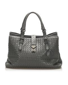 Bottega Veneta Intrecciato Roma Leather Tote Bag Gray