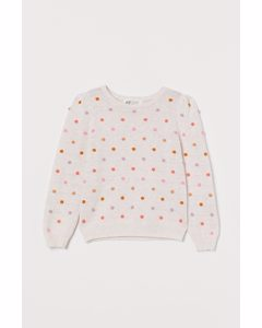 Textured-knit Jumper Natural White/spotted