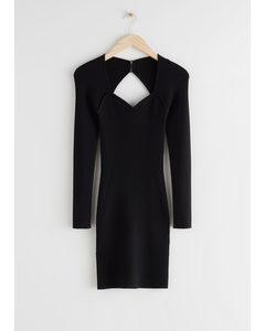 Ribbed Sweetheart Neck Bustier Mini Dress Black
