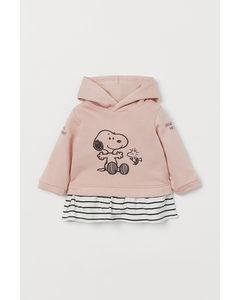 Sweatshirtklänning Med Tryck Puderrosa/snobben