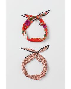 2er-Pack Tücher/Haarbänder Knallrot/Tropenblumen