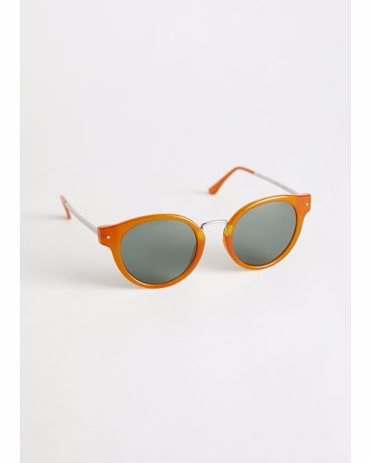 & Other Stories Rounded Gold Bridge Sunglasses Amber