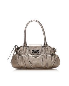 Ferragamo Gancini Marisa Leather Handbag Silver
