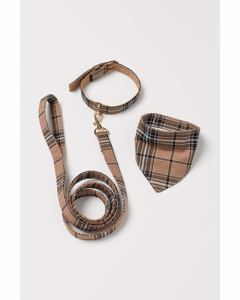 Dog leash and scarf Beige/Checked