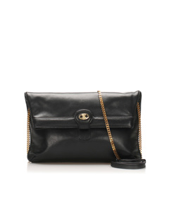 Celine Chain Leather Crossbody Bag Black