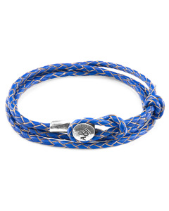 Anchor & Crew Royal Blue Dundee Silver And Braided Leather Bracelet