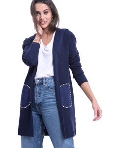 Hooded Long Cardigan With Studded Pockets