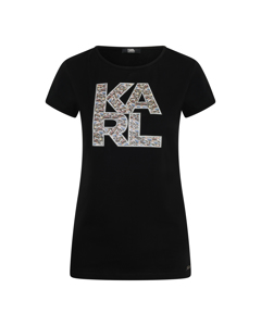 Karl Lagerfeld Library Logo Shirt Zwart