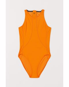 Sportbadeanzug High Leg Orange