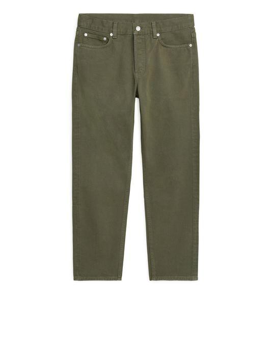 Arket REGULAR Cropped Overdyed Jeans Khaki