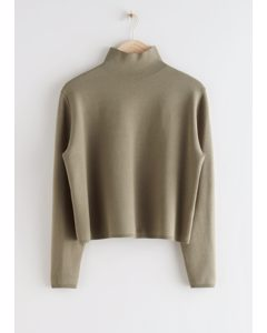 Cropped Relaxed Fit Turtleneck Khaki