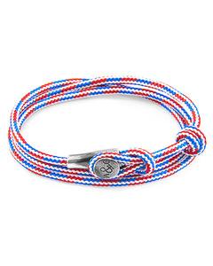 Projekt-Rwb Rote Weisse Und Blaue Dundee Silber Und Seil Armband