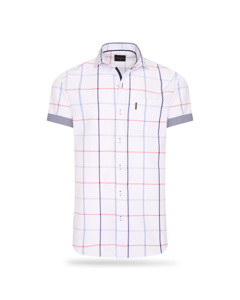 Cappuccino Italia Short Sleeve Blouse Wit Big Check Wit