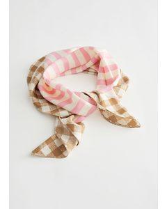 Gingham Trim Striped Scarf Pink Stripes
