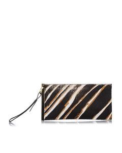 Balenciaga Zebra Print Pony Hair Clutch Bag Black