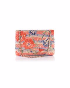 Classic Sinlge Flap Bag Tropical Floral Print Quilted Lambskin Jumbo