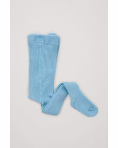 Ribbed Wool-mix Tights Turquoise