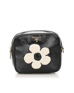 Prada Saffiano Vernice Crossbody Bag Black