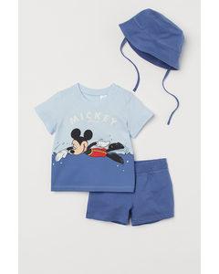 3-teiliges Jerseyset Blau/Micky Maus